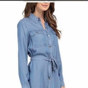 Michael Kors chambray denim button shirt dress L
